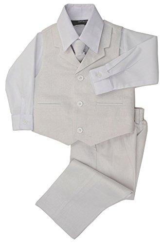 G270 Boys Summer Linen Blend Suit Vest Dresswear Set (10, White) (Summer Linen Suit)