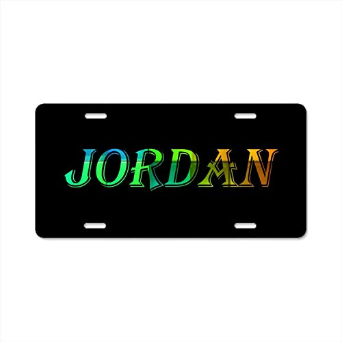 SOIREE Funny Aluminum Alloy License Plate Cover with 4 Holes Jordan Designed Decorative Metal Car Aluminum Alloy License Plate Auto Tag (Jordan License Plate)