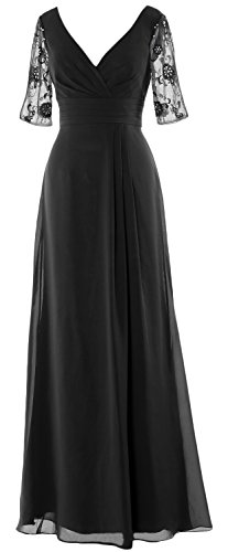 Gown Evening Long Sleeves Formal Black Women V Dress Mother Half Macloth Bride Of Neck F1x0Wq