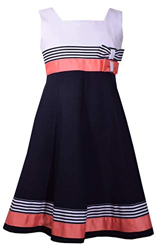 Bonnie Jean Girls Easter Scuba Special Ocassion Dress (12, Navy/Coral) -