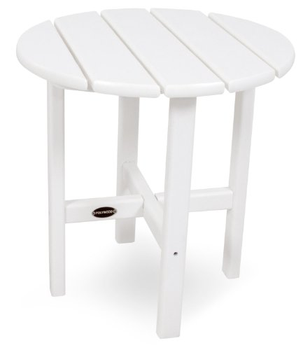 "POLYWOOD RST18WH Round 18"" Side Table, White - The perfect companion for most POLYWOOD armchairs and benches, this 18"" side table is made with fade-resistant POLYWOOD recycled lumber POLYWOOD recycled HDPE lumber has the look of painted wood without the upkeep real wood requires; requires no painting, staining, or waterproofing Heavy-duty construction withstands nature's elements; will not splinter, crack, chip, peel or rot and is resistant to stains, insects, fungi, and salt spray - patio-tables, patio-furniture, patio - 31QqPVm7b8L -"