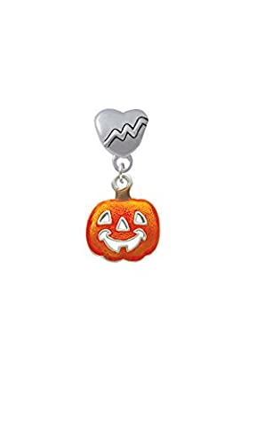 Translucent Orange Jack O'Lantern - Heartbeat Charm Bead - Jack Heart Charm