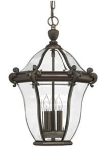 Hinkley 2442CB Traditional Three Light Hanging Lantern from San Clemente collection in Copperfinish, San Clemente Outdoor Lantern