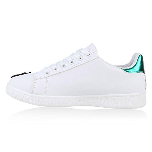 Stiefelparadies Damen Sneakers Blumen Sneaker Low Stickereien Sportschuhe Schnürer Schuhe Leder-Optik Metallic Kappe Flandell Weiss Grün