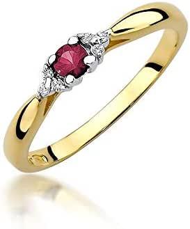 Anillo de compromiso para mujer, oro amarillo 585 de 14 quilates, diamantes naturales