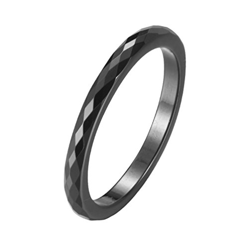 Faceted Black Ceramic Ring - IFUAQZ Women's 2MM Ceramic Ring Rhombic Cut Faceted Design Engagement Wedding Band Comfort Fit Black Size 9