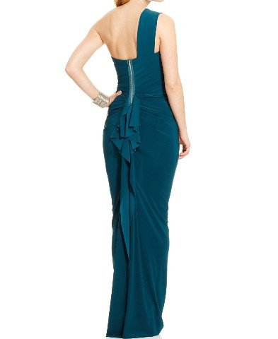 Xscape Women's Ruffled One Shoulder Gown (8, Emerald)