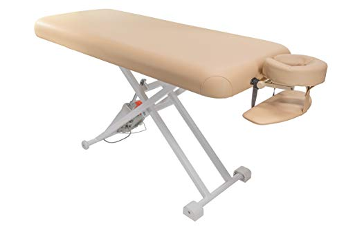 (Electric Lift Massage Table with Headrest and Arm Shelf (Beige))
