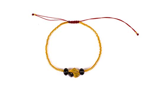 Yellow Bracelet with Hand Carved Mexican Amber Heart and Red Amber Beads for Good Luck and Protection Yellow Miyuki beads Adjustable Unisex bracelet Perfect gift for Women Best friend or Mom ()
