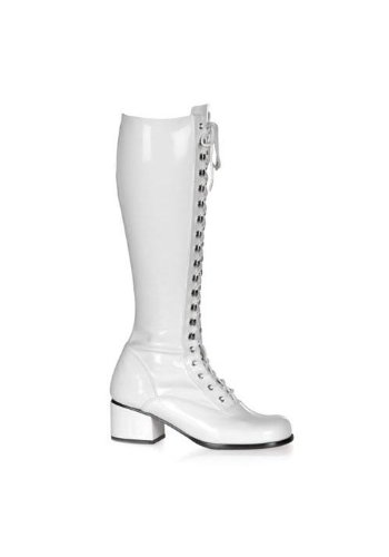 Funtasma by Pleaser Women's Retro-302 Lace Up Gogo Boot,White Stretch Patent,13 M US -