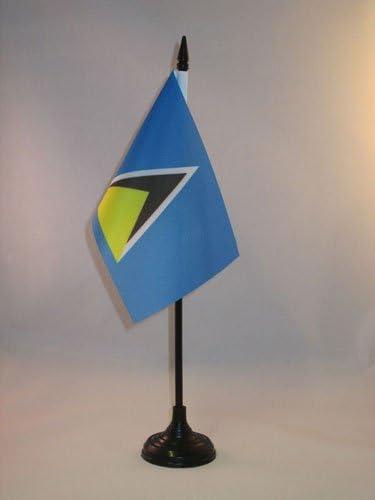 Az Flag Saint Lucia Table Flag 4 X 6 Saint Lucian Desk Flag 15 X 10 Cm Black Plastic Stick And Base Garden Outdoor