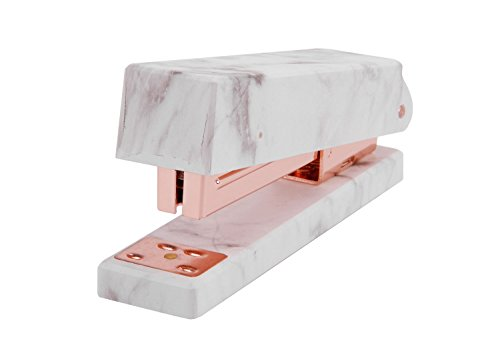 Marble Print Stapler 50 Sheet Capacity Heavy Duty Home Office Desk Stapler Jam-Free Manual Stapler Office Supplies with Anti-Skid Pad, Rose Gold