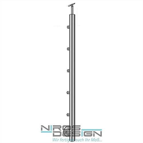 Poste de barandilla con soporte para travesaños para tubos de 5 x 12mm de diámetro y fijación del pasamanos. Montaje lateral, calidad profesional Niros Design