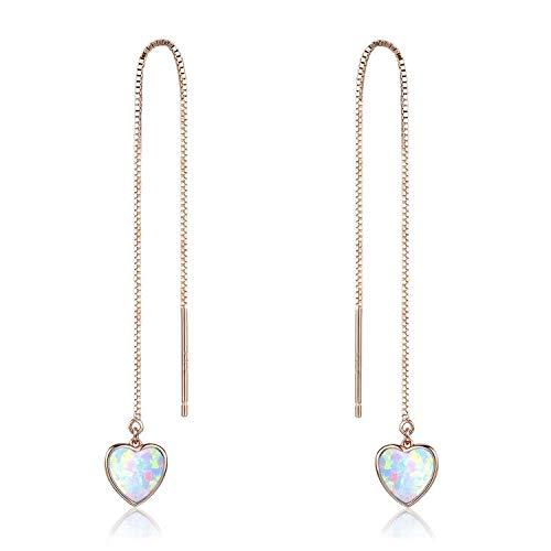 Heart Threader Earrings Opal Threader Earrings 18K Rose Gold Plated Sterling Silver Long Chain Earring for Women