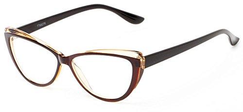 Readers.com The Venus +1.00 Brown The Venus Trendy Two-Tone Cat Eye for Women Reading - Venus Eyewear