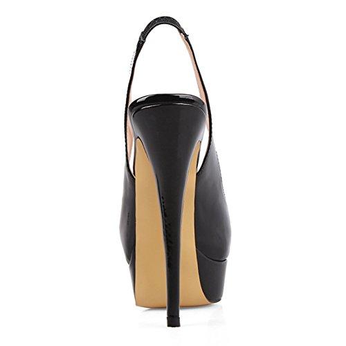 Sandali Donna Pan Piattaforma Slip Dress Stiletti Pompe On Alti Festa Toe Peep Black Scarpe Slingback Col Tacchi Tacco Caitlin 4g75Cqww