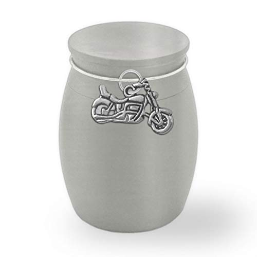 Small Mini Motorcycle Biker Keepsake Memorial Ashes Holder Container Jar Vial Brushed Stainless Steel Cremation Funeral Urn