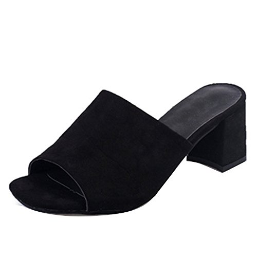 Women Block Heel Slip On Mules Sandals Open Toe Slippers Summer Shoes Black ffiXQf