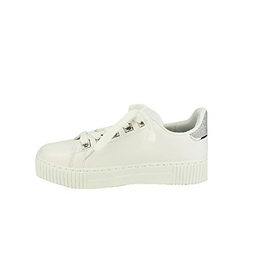 EXQUILY Cendriyon Rivets Chaussures Paillettes Femme Sneakers Blanches rrxqtwAE