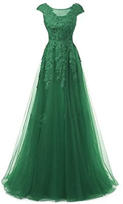 Womens Long Formal Applique Tulle Prom Evening Dresses