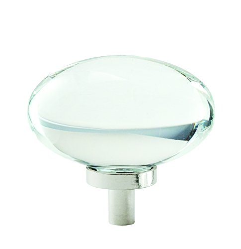 Crystal Amerock (Amerock Glacio 1-3/4 in. (44mm) Diameter Clear Crystal/Polished Nickel Oval Cabinet Knob)