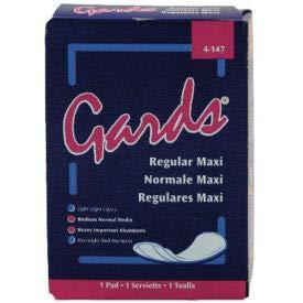 Gards Maxi Pads #4, 250 Individually Boxed Napkins/Case - HOS4147 (HOS 4-147)