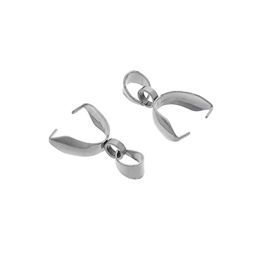 Bail Clip (VALYRIA 10pcs Stainless Steel Bead Clamp Pinch Bail Clip Findings for Jewelry Connector 16x9.5mm)