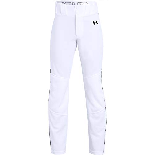 Under Armour Boys' Utility Relaxed Piped Baseball Pant, White (100)/Black, Youth Medium (Baseball Youth Cleats Ua)