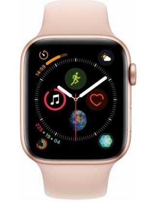 Apple Watch Series 4 (GPS only) Aluminum Case Compatible with iPhone 5s and Above (Gold Aluminum Case with Pink Sand Sport Band, 44mm)
