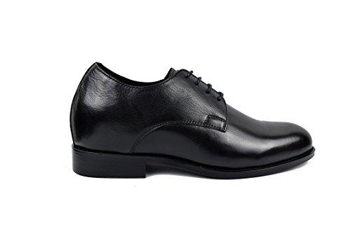 Zerimar Mannen Zwart Maat Schoenen Met Onzichtbare Toename Van 7 Cm Schoen Van Hoogwaardig Leer Kleur 42