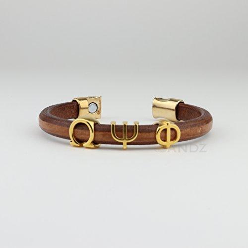 Omega Psi Phi Leather bracelet Prophyte Color Tobacco/gold