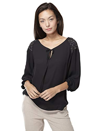 Pleione Womens 3/4 Sleeve Henley Button Down Pleated Blouse with Bow Knot Closure