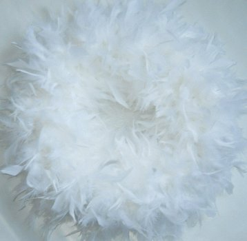 (Fluffy White Chandelle Feather Wreath...Gorgeous Home Accent)