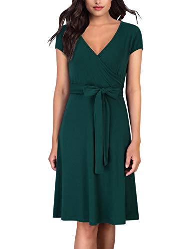 (GloryStar Women True Wrap Dress A Line Dress V Neck Knit Dress Work to Wear Dress Short Sleeve Green M)
