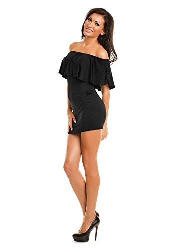 de Colmena Volantes la Mini elástico Bardot de Hombro Vestido Ajustado Mujeres del Negro Corto Estiramiento Estilo con Noche xw7nU