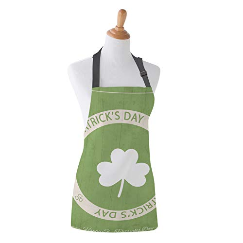 WAZZIT St. Patrick's Day Apron Stamp Design Happy Greetings Vintage Style Kitchen Bib Apron Unisex with Neck Strap for Cooking Baking Barbecuing, 26