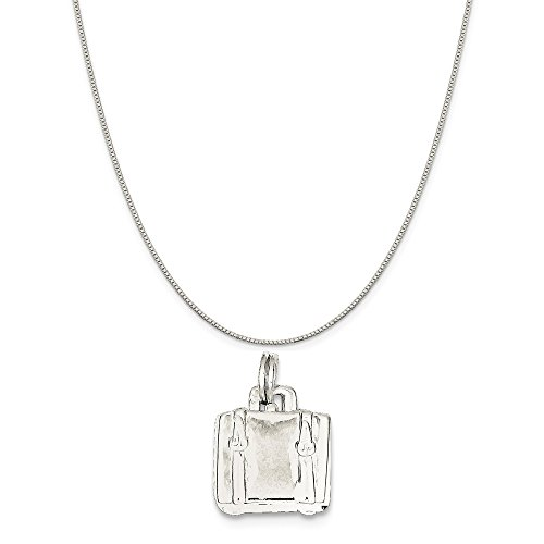 Sterling Silver Suitcase Charm on a Sterling Silver Box Chain Necklace, (Necklace 16 Sterling Silver Charm)