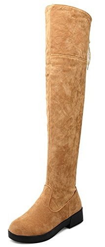 IDIFU Womens Sweet Low Chunky Heels Over The Knee High Boots Long Booties With Zipper Yellow