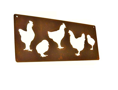 Rusted Metal Chicken Sign