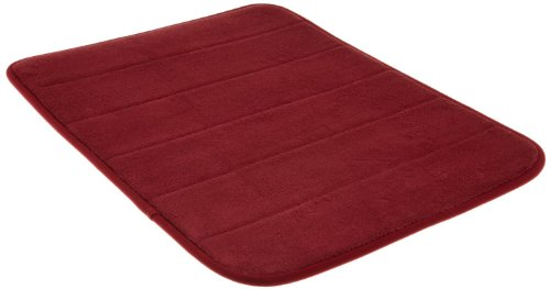 Burgundy Bath - Memory Foam Bath Mat-Incredibly Soft and Absorbent Rug, Cozy Velvet Non-Slip Mats Use for Kitchen or Bathroom (17 Inch x 24 Inch, Burgundy)