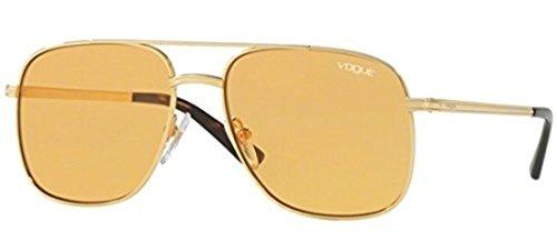VOGUE Women's Metal Woman Rectangular Sunglasses, Gold, 55.01 mm
