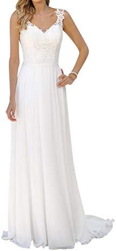 Wedding Dress Beach Chiffon Bridal Gowns V Neck Lace Bride Dresses Chiffon Wedding Gown