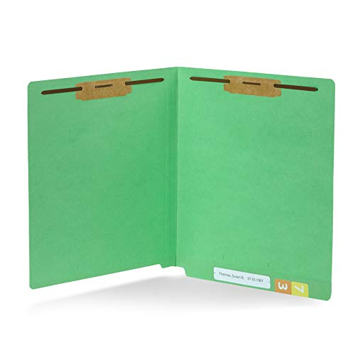 Colored Fastener Folders Reinforced Tab - 50 Green End Tab Fastener File Folders- Reinforced Straight Cut Tab- Durable 2 Prongs Designed to Organize Standard Medical Files, Receipts, Office Reports, and More - Letter Size, Green, 50 Pack