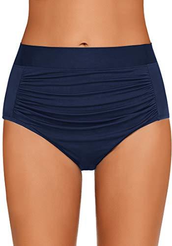 GRAPENT Women's High Waisted Shirred Bikini Bottom Ruched Tankini Swim Shorts Navy Blue Size XL