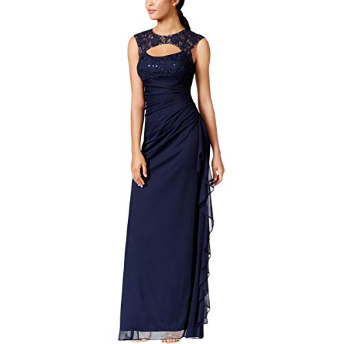 Betsy & Adam Womens Cut Out Sequined Evening Dress Navy 8 (& Betsy Evening Adam Gown)