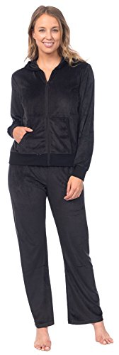 Pink Lady Womens Soft Velour Zip Hoodie and Bottoms Lounge Tracksuit (Jet Black, L) ()