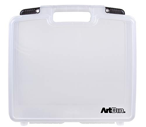 ArtBin 6960AB 15 Inch Quick View Carrying Case with Deep Base - 15 in. x 3.25 in. x 14.375 in. Deep Art and Craft Supply Storage with Latches and Handles, Portable (Carry Case Handles)