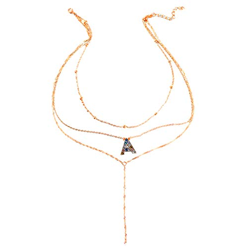 Letter Layered Necklace,Crytech Creative Dainty Gold Ball Beaded Choker Colored Rhinestones Charms Initial Letter Pendant Clavicle Chain Long Chain Tassel Necklace For Women Ladies Fashion Jewelry (A)
