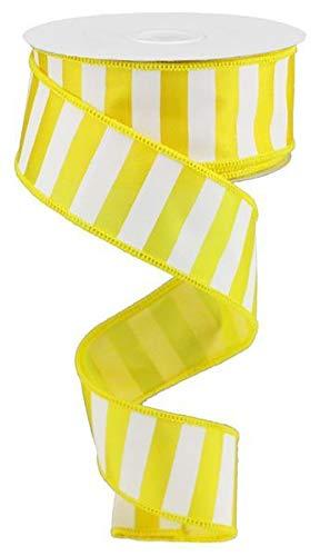Wired Ribbon Yellow and White Medium Horizontal Striped 1.5