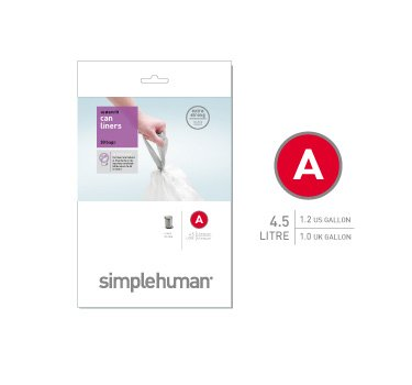 White 30 Liners simplehuman Code A Custom fit Liners, 4.5 L//1.2 Gallon